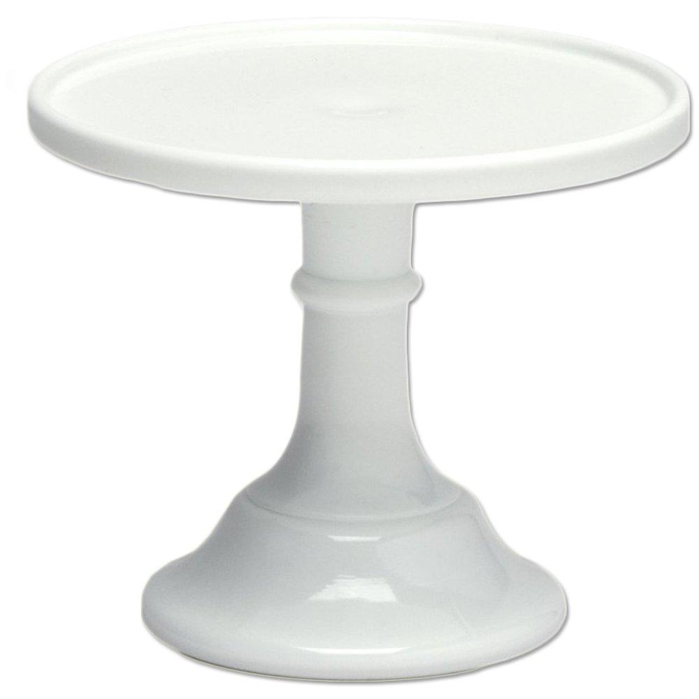 "Milk White 6"" Glass Cake Stand - By Mosser Glass"