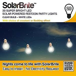 Deluxe Solar Brite 20 Bright LED de color blanco V funciona con energía Solar para fiestas - blanco bombilla
