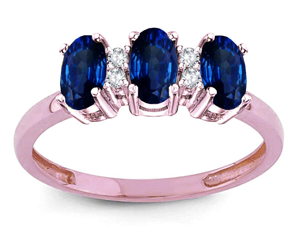 Star K Created Sapphire 3 Three Oval Stones Promise Ring Wedding Band 10 kt Rose Gold Size 8 by Star K