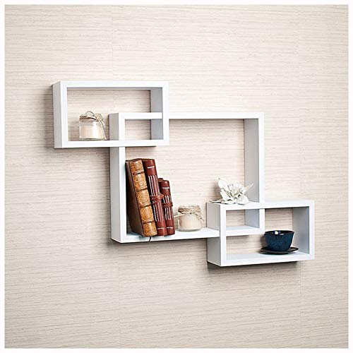 Clearance Sale!DEESEE(TM)Intersecting Boxes Black Red White Decorative Square Wall Shelf Includes Three Square Shelves (White)