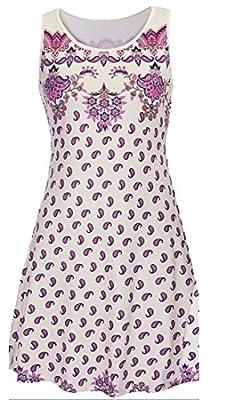 Earnest Women's Summer Print Flare Sleeveless Party Tank Dress