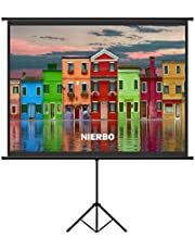 60 inch Projector Screen with Retractable Stand, NIERBO Projection Screen with Tripod 122x91cm 4: 3 Screen, Portable Projection Screen Indoor, Outdoor, Home Theater, Office