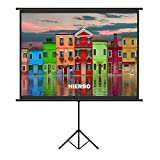 60 inch Projector Screen with Retractable Stand, NIERBO Projection Screen with Tripod 122x91cm