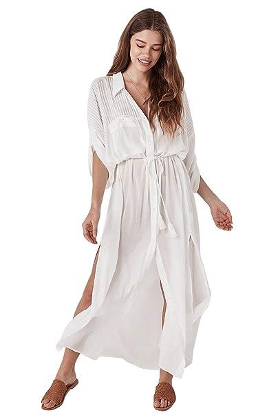 f292811f0066 Boho Beach Shirt Style Cotton Swimsuit Coverup Top, Bell Long Beach ...