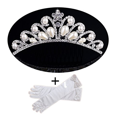KimmyKu Princess Flower Girl Crystal Pearl Tiara Communion with Gloves Fancy Costume Accessories ()