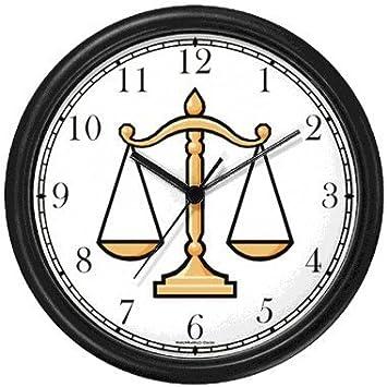 Diseño con motivos circulares y o jurídica de símbolo - báscula de justicia reloj de pared de relojes WatchBuddy (verde Marco): Amazon.es: Hogar