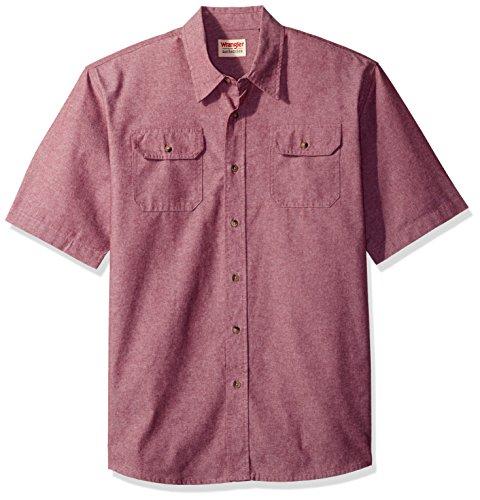 Wrangler Authentics Men's Short Sleeve Classic Twill Shirt, Tawny Port Chambray, M