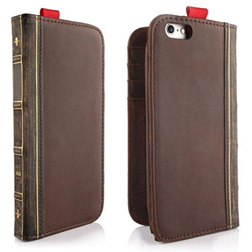 Alienwork Schutzhülle für iPhone 6 Plus/6s Plus vintage Brieftasche Hülle Case Stoßfest Portemonnaie Leder braun AP6P02-04