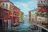 BeyondDream Oil Painting 24''x36'' Parked Gondolas Water Street Pole Window Flowers Venice Italy Impressionism, Art