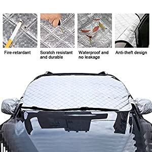 "Thickened Car Windshield Snow Ice Cover Sun Shade Protector with Side View Mirror Protector and Anti-Theft Edges, 58""(W) X 39""(H) Fit For Car SUV Van, Comes with Storage Pouch and 2 Bonus Products"