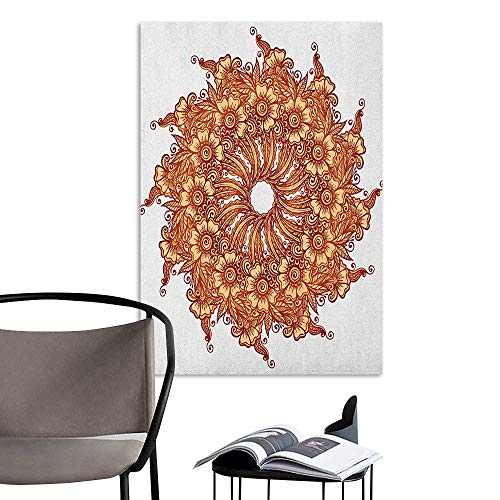 Alexandear Stickers Wall Murals Decals Removable Henna Eastern Civilization Inspired Floral Tattoo Design Mehndi Motif Illustration Mustard Dark Orange Office Studio Corridor Aisle W20 x -