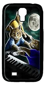 Three Keyboard Cat Moon Case Cover for Samsung Galaxy S4 / SIV / I9500 - PC - Black