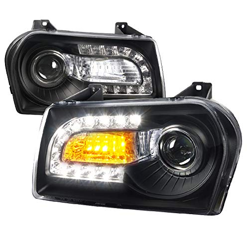 For Chrysler 300 Base 4DR Black LED Signal DRL Projector - Black Led 4dr