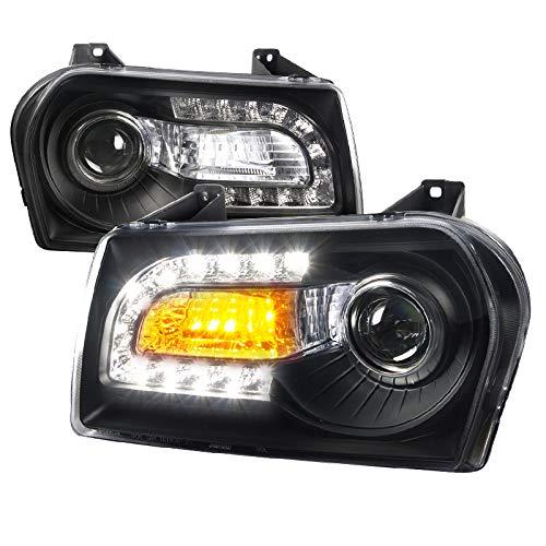 For Chrysler 300 Base 4DR Black LED Signal DRL Projector Headlights