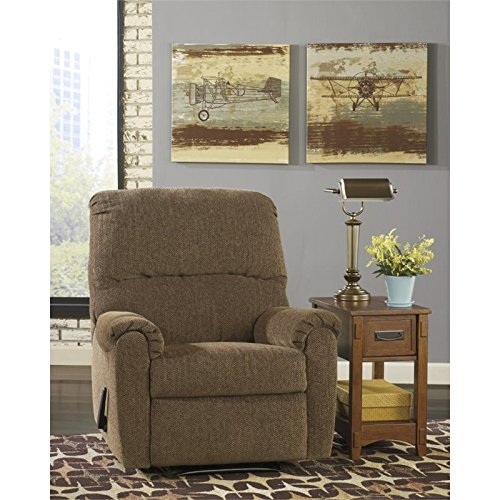Flash Furniture Signature Design by Ashley Pranit Wall Hugger Recliner in Walnut Chenille Walnut Wall Hugger