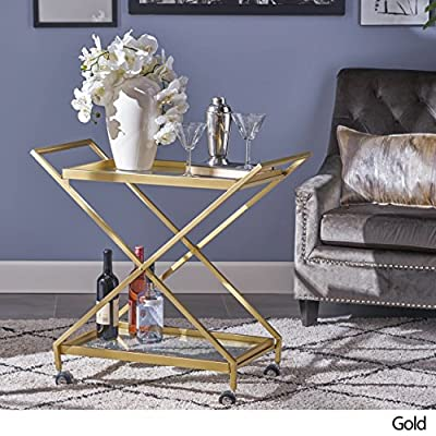 Easter Indoor Industrial Iron and Glass Bar Cart, Gold