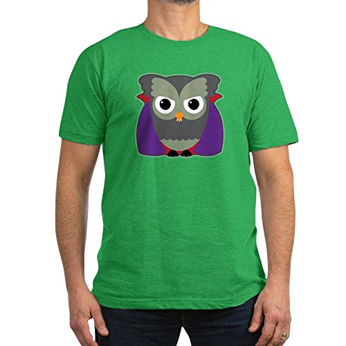 Truly Teague Men's Fitted T-Shirt (Dark) Spooky Little Owl Vampire Monster - Kelly Green, 2X -