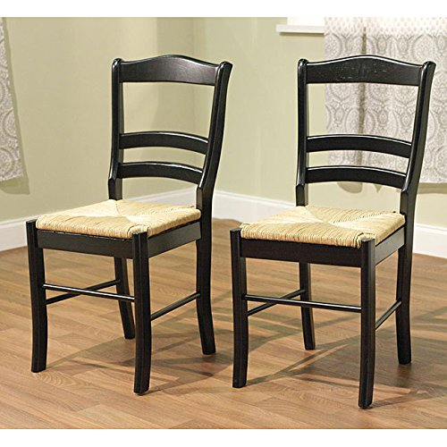 Unique Simple Living Paloma Wooden Dining Chairs (Set of 2) in Black