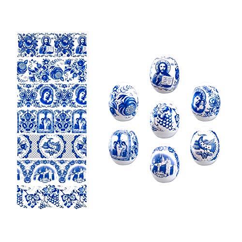 Ukrainian Ukrasa Heat Shrink Wrap Sleeve Decoration Easter Egg Wrappers Pysanka Arounds Set (Gzhel Blue)