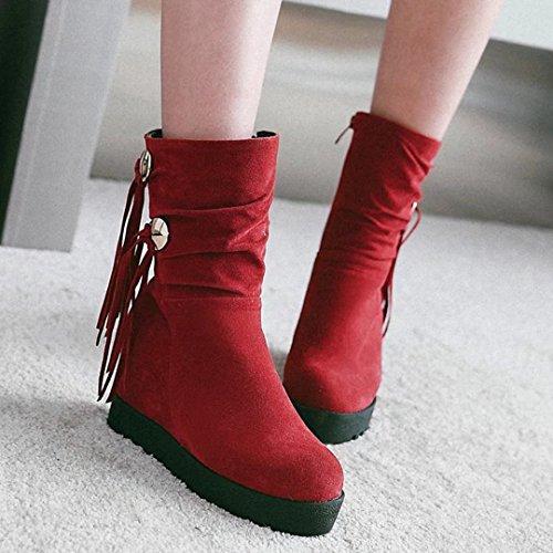 AIYOUMEI Womens Side Zipper Height Increasing Wedges Winter Tassel Ankle Boots Red oVUeFS9z