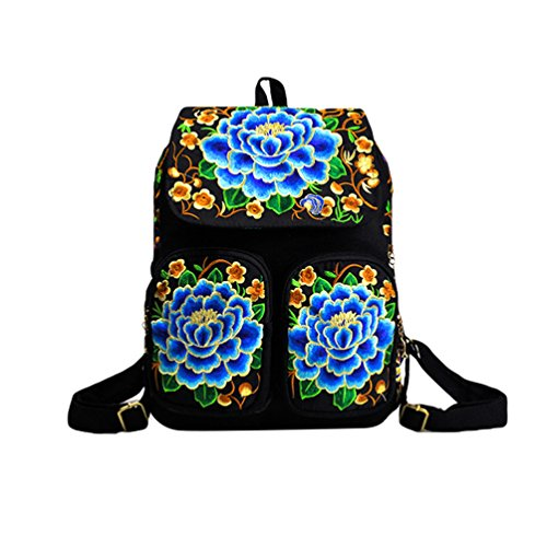 YAANCUN Mochilas Lona Mochila Escolar Mujer Bordado Etnico Mochila Del Estudiante Viaje Bolsa Backpack Casuales Comme l'image#6