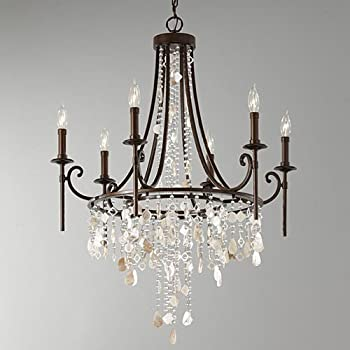 Feiss F2660/6HTBZ Cascade Crystal 1 Tier Chandelier Lighting 6 Light 360 & Feiss F2660/6HTBZ Cascade Collection 6-Light Chandelier Heritage ... azcodes.com