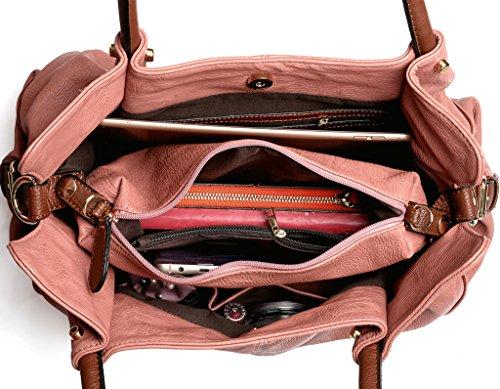 UTO Mujer bolso de mujer conjunto 3 piezas de bolsa de cuero PU bolsos de hombro pequeño bolso de bolsos correa de la bolsa de albaricoque Rosa Claro