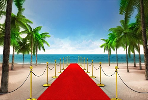 (AOFOTO 10x7ft Exclusive Red Carpet on Sandy Tropical Beach Background Summer Holiday Sea Island Luxury VIP Entry Photography Backdrop Palm Tree Vacation Paradise Party Decor Banner Photo Studio Props)
