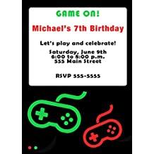 30 Invitations Black Red Video Game Design Birthday Party Personalized Cards + 30 White Envelopes