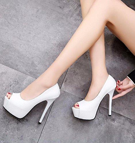 GTVERNH-Tacchi Alti Moda Sexy Coreano Bene A Bocca Di Pesce Una Scarpa Primavera E Autunno Donna Scarpe Superficiale Bocca Lady Scarpe Impermeabili. 36 White