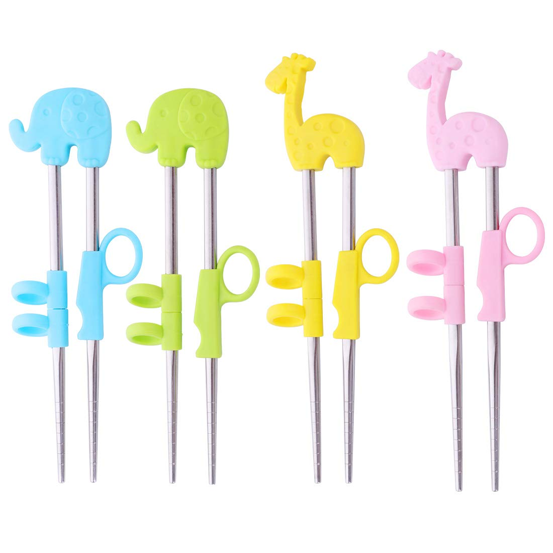 Children Training Chopsticks 4 Pairs Stainless Steel Kids Learning Chopstick with Colorful Lovely Animal Holder Beginner Handheld Helper - DoBuy Do Buy