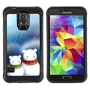 Suave TPU Caso Carcasa de Caucho Funda para Samsung Galaxy S5 SM-G900 / Cute Snow Men Friends Christmas / STRONG