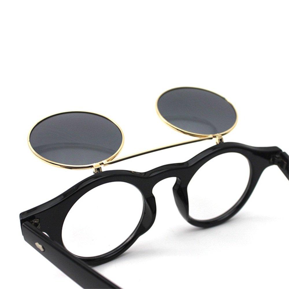 Retro-Stil Unisex Hochklappen Rund Sonnenbrille Steampunk Gotik Schutzbrille Brille Schwarz