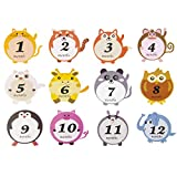 Baby Monthly Stickers - Baby Boy & Girl First Year Month Growth Milestones - 1 to 12 Month Onesie Belly Animal Stickers- Best Baby Shower Gift (12 Packs)