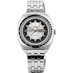 Men's Italian Designed Taxi Driver by Fonderia all Stainless Steel with Sliver and Black Dial Quartz Watch P-7A004US1