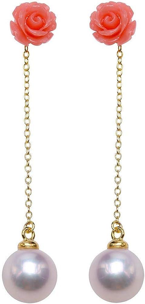 JYX - Pendientes de plata de ley con perlas de coral rojo y rosa de calidad AAA de 8 mm, redondos, de agua dulce, para mujer
