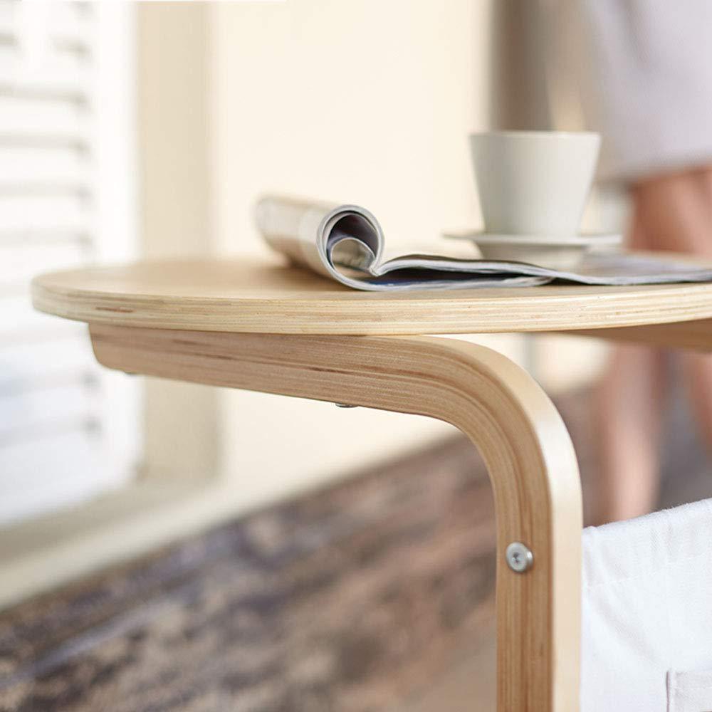 Amazon.com: Mesa auxiliar de madera maciza en forma de C con ...