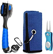 Champkey Waffle Golf Towels with Golf Club Brush and Divot Tool (3 in 1) | Quick Dry Golf Cleaning Towel with