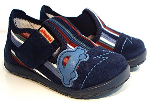 FRODDO Hausschuhe Fußbett Leder Kord blau Auto Klettverschluss