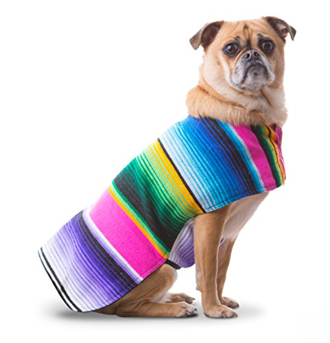 Dog Clothes - Handmade Dog Poncho from Authentic Mexican Blanket by Baja Ponchos (Pink No Fringe, Medium) (Ugly Betty Poncho)
