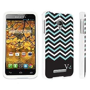 DuroCase ? Alcatel One Touch Fierce 7024W Hard Case White - (Black Mint White Chevron V)