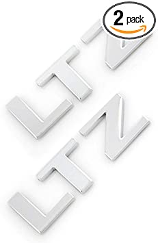 Pair Metal LTZ Emblem 3D Badge Nameplate Letter compatible with Silverado Tahoe Sierra Suburban Red