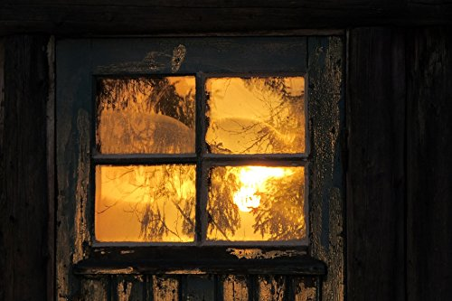 LAMINATED POSTER Door See Sunrise Window Wooden House Mirror