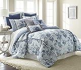 Amrapur Overseas Floral Farmhouse 8-Piece Comforter Set, King, Light Blue
