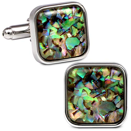 VIILOCK Fancy Nebula Mother of Pearl Square Cufflinks Deep Space Cuff Links Set (Nebula Champaign Gold)