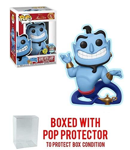 Funko Genie w/ Lamp [Glow-in-Dark] (Specialty Series): Aladdin x POP! Disney Vinyl Figure & 1 POP! Compatible PET Plastic Graphical Protector Bundle [#476 / 35759 - B] ()