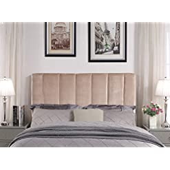 Bedroom Iconic Home Uriella Headboard Velvet Upholstered Vertical Striped Modern Transitional, Twin, Taupe modern headboards