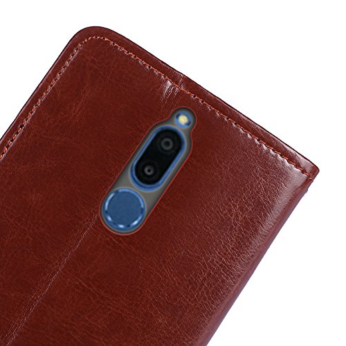 Huawei Mate 10 Lite Funda Faux Cuero Billetera Funda para Huawei Mate 10 Lite con Stand Función(Azul oscuro) Marrón