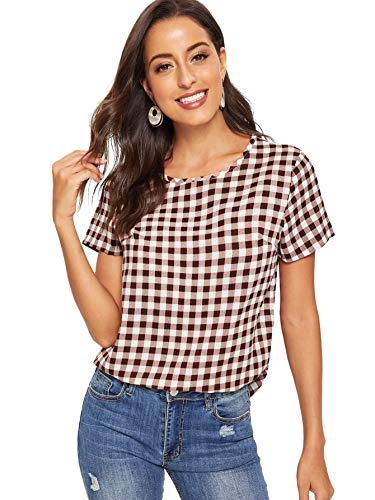 - WDIRARA Women's Casual Checkered Short Sleeve Keyhole Back Round Neck Blouse Top Multicolor-3 L