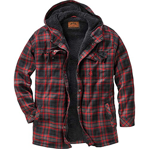Legendary Whitetails Mens Camp Night Berber Lined Hooded Flannel Shirt Jacket